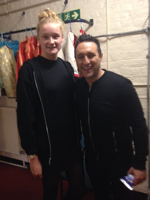 Jess Davies backstage with Antony Costa during Aladdin panto 2014