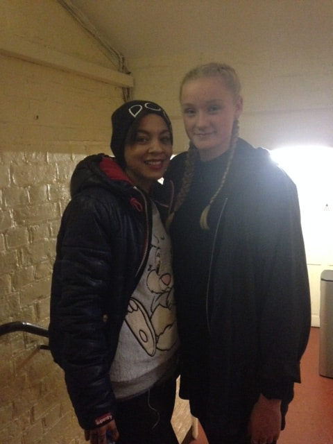 Jess and Jade Ellis backstage Aladdin 2014