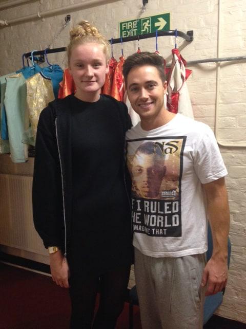 Marcus Patrick and Jess Davies backstage during panto 2014