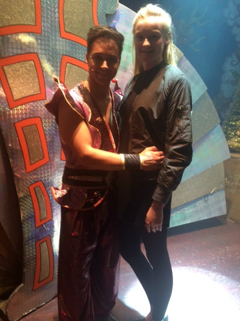 Jessica with Marcus Patrick on Aladdin stage 2014