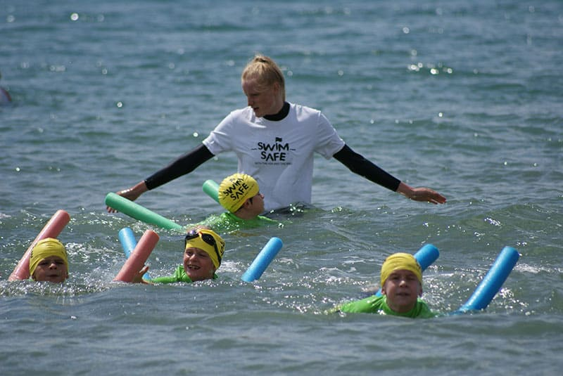 A Swim Safe Swimming teacher in the sea at Bournemouth Beach
